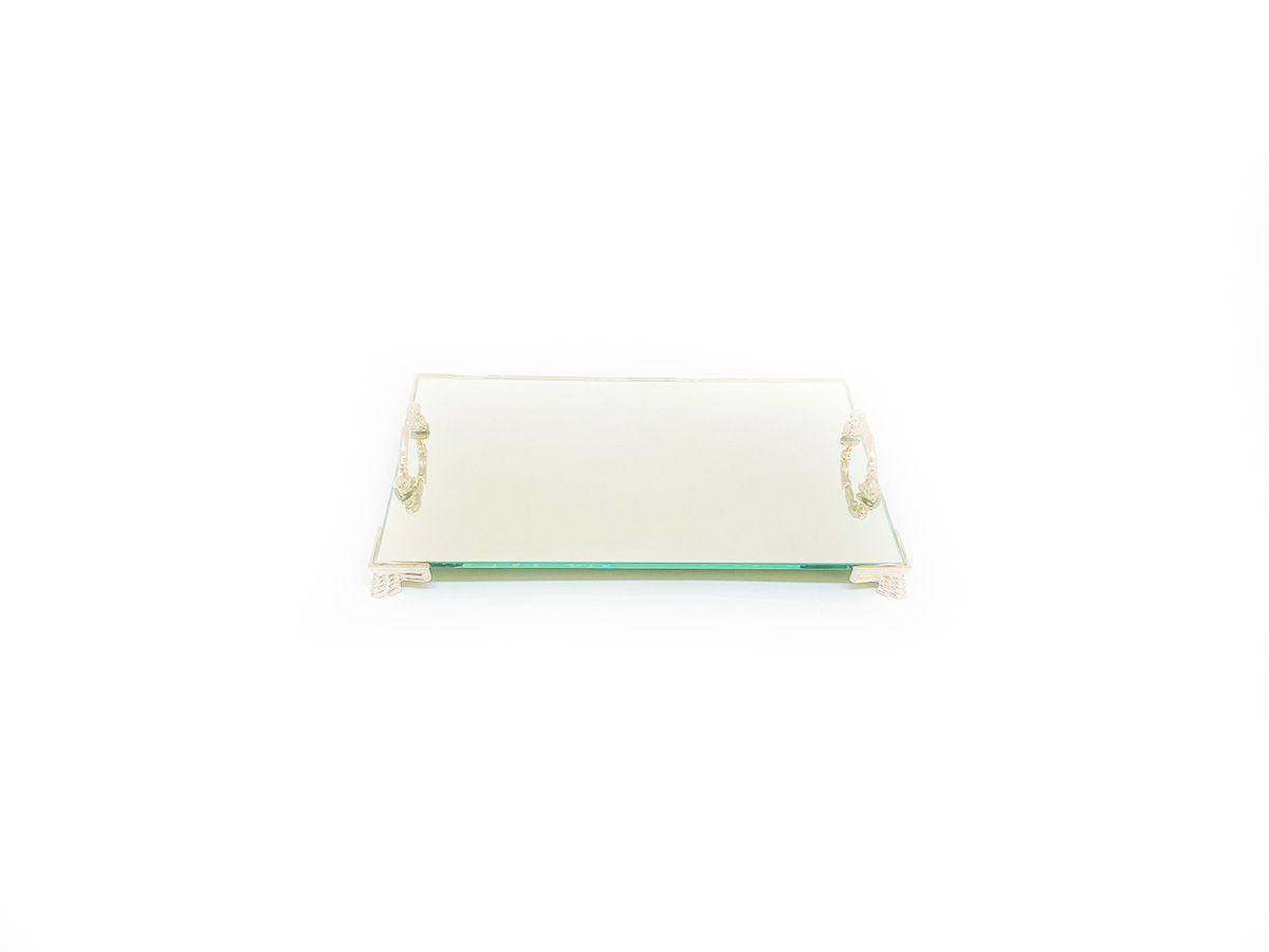 Bandeja Espelhada Veneza Com Alça Prata Lavabo Banheiro Sala Luxo 22x14
