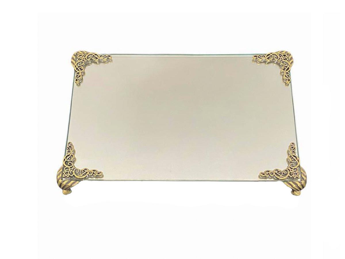 Bandeja Espelhada Detalhe Ouro Velho Lavabo Banheiro Luxo 22x14