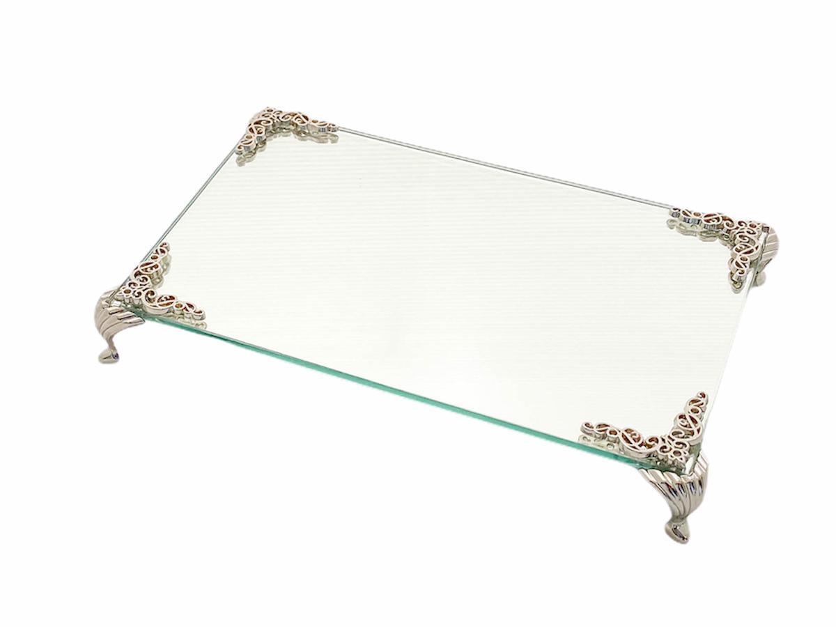 Bandeja Espelhada Com Detalhe Prata Luxo Lavabo Banheiro 22x14