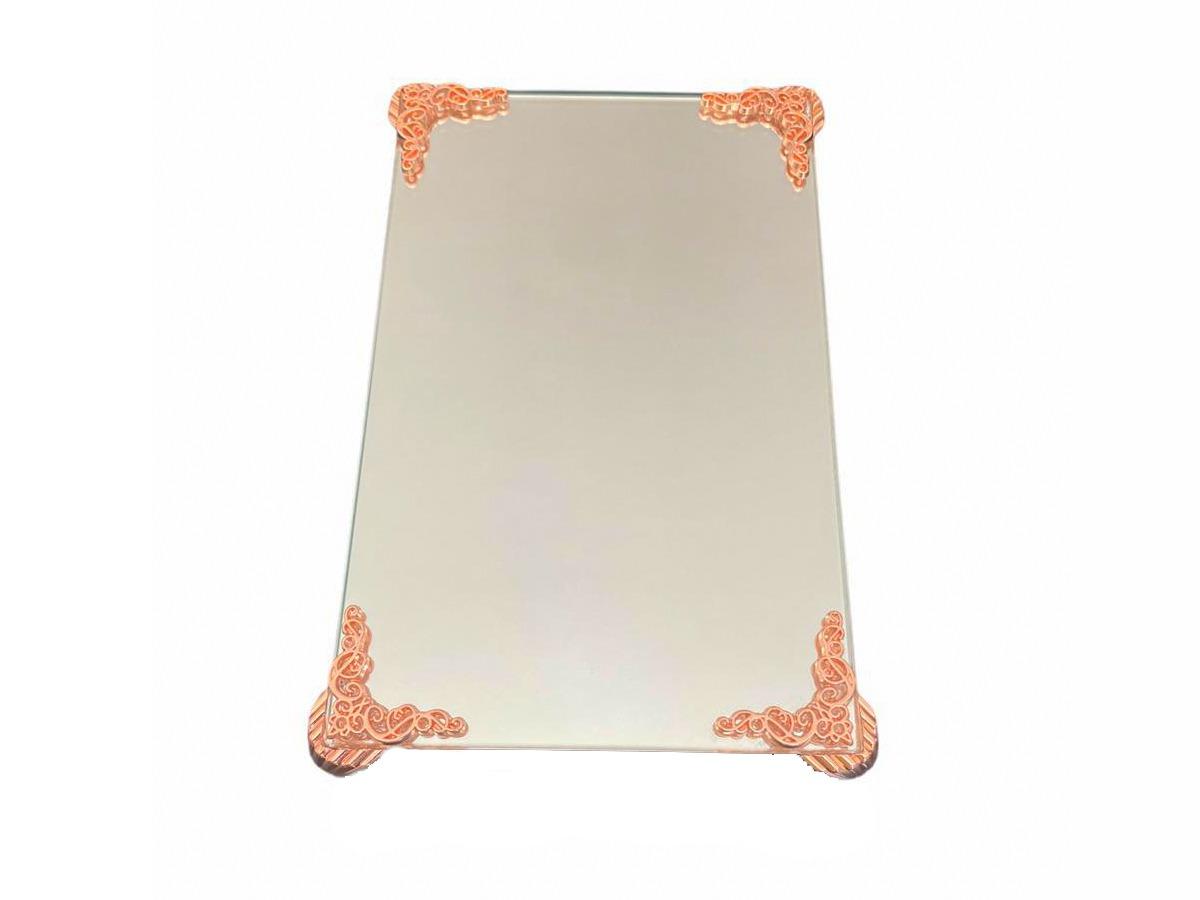 Bandeja Espelhada Com Detalhe Rose Luxo Lavabo Banheiro 22x14
