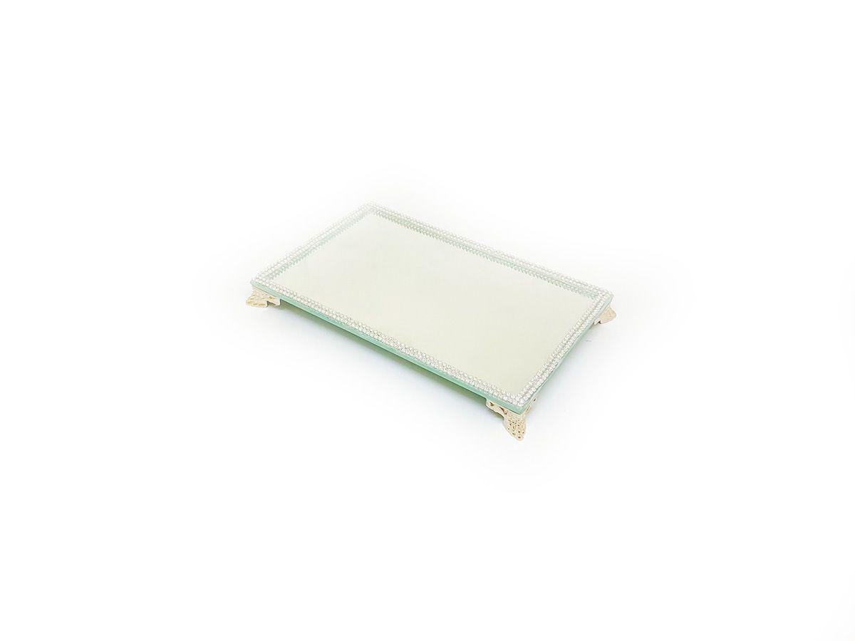 Bandeja Espelhada Com Strass Prata Lavabo Banheiro Sala 22x14