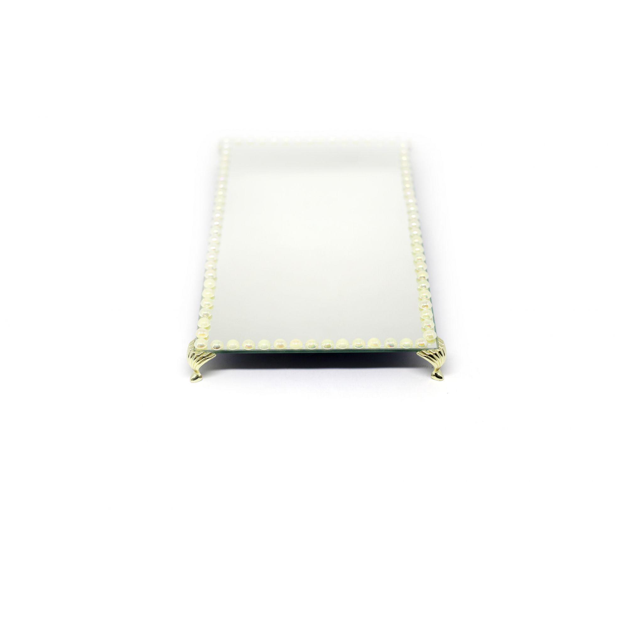 Bandeja Espelhada Com Pérolas e Pé Concha Dourada Lavabo Banheiro Sala Luxo 30x18
