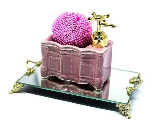 Bandeja Espelhada Alça Dourada Luxo Lavabo Banheiro 22x14