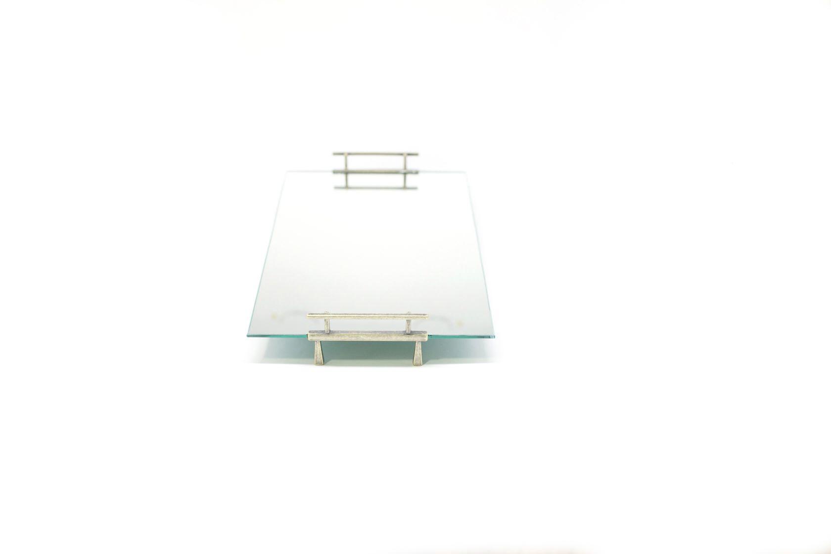 Bandeja Espelhada Alça Lateral Prata 30x20