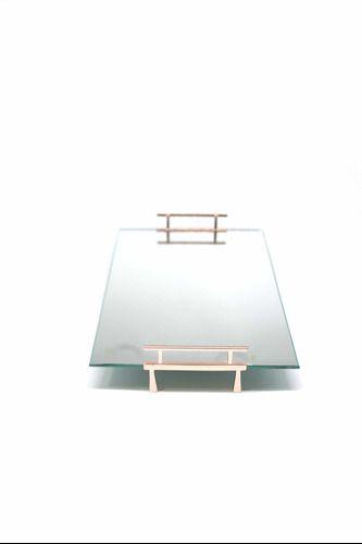 Bandeja Espelhada Alça Lateral Rose Luxo Banheiro 30x20