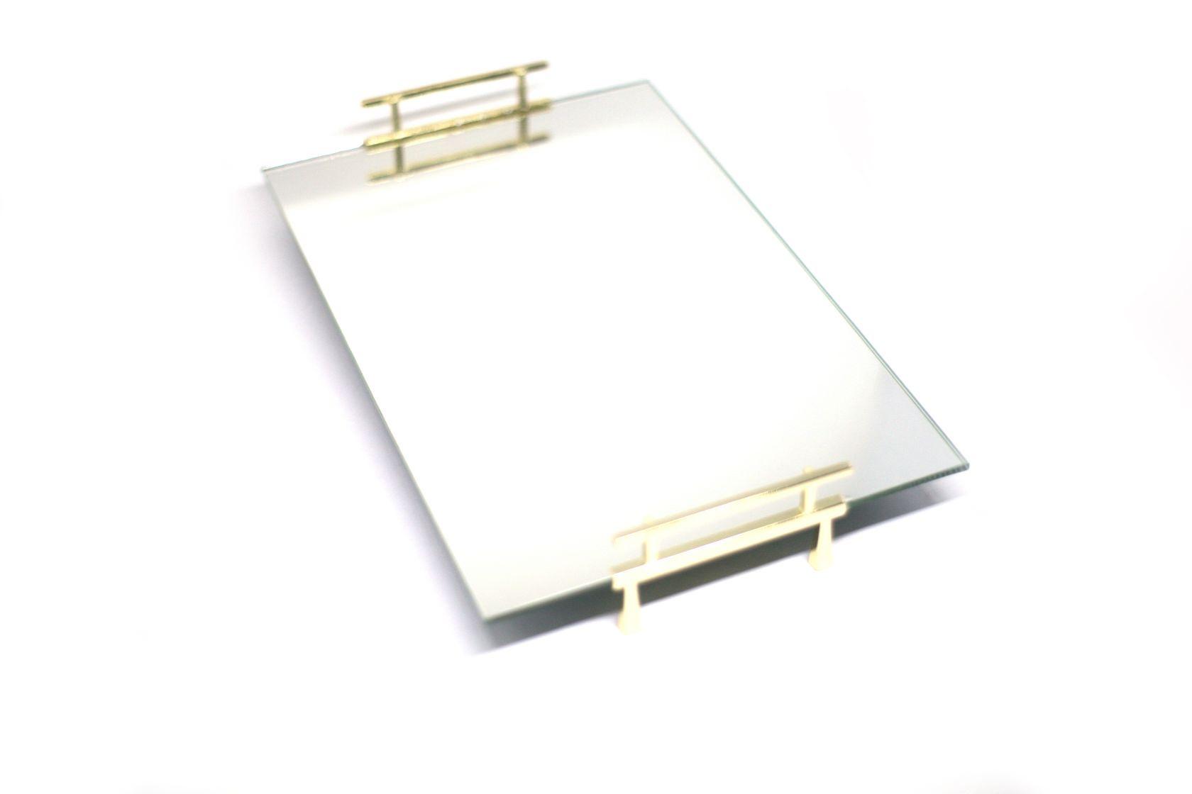 Bandeja Espelhada Com Alça Lateral Dourada Banheiro Lavabo 30x20