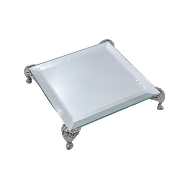 Bandeja Espelhada Bisote Prata Luxo Lavabo 10x10