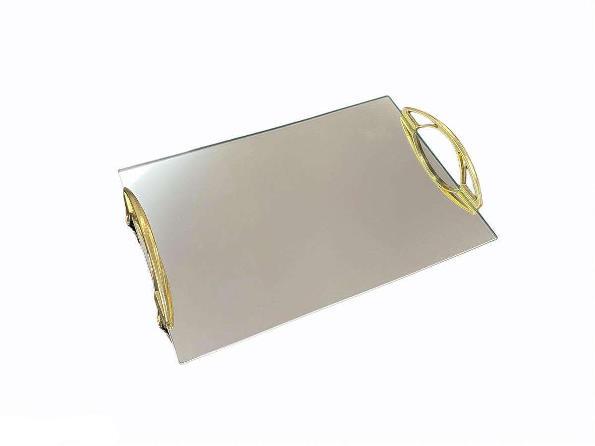 Bandeja Espelhada Com Alça  Arco Dourada 30x20