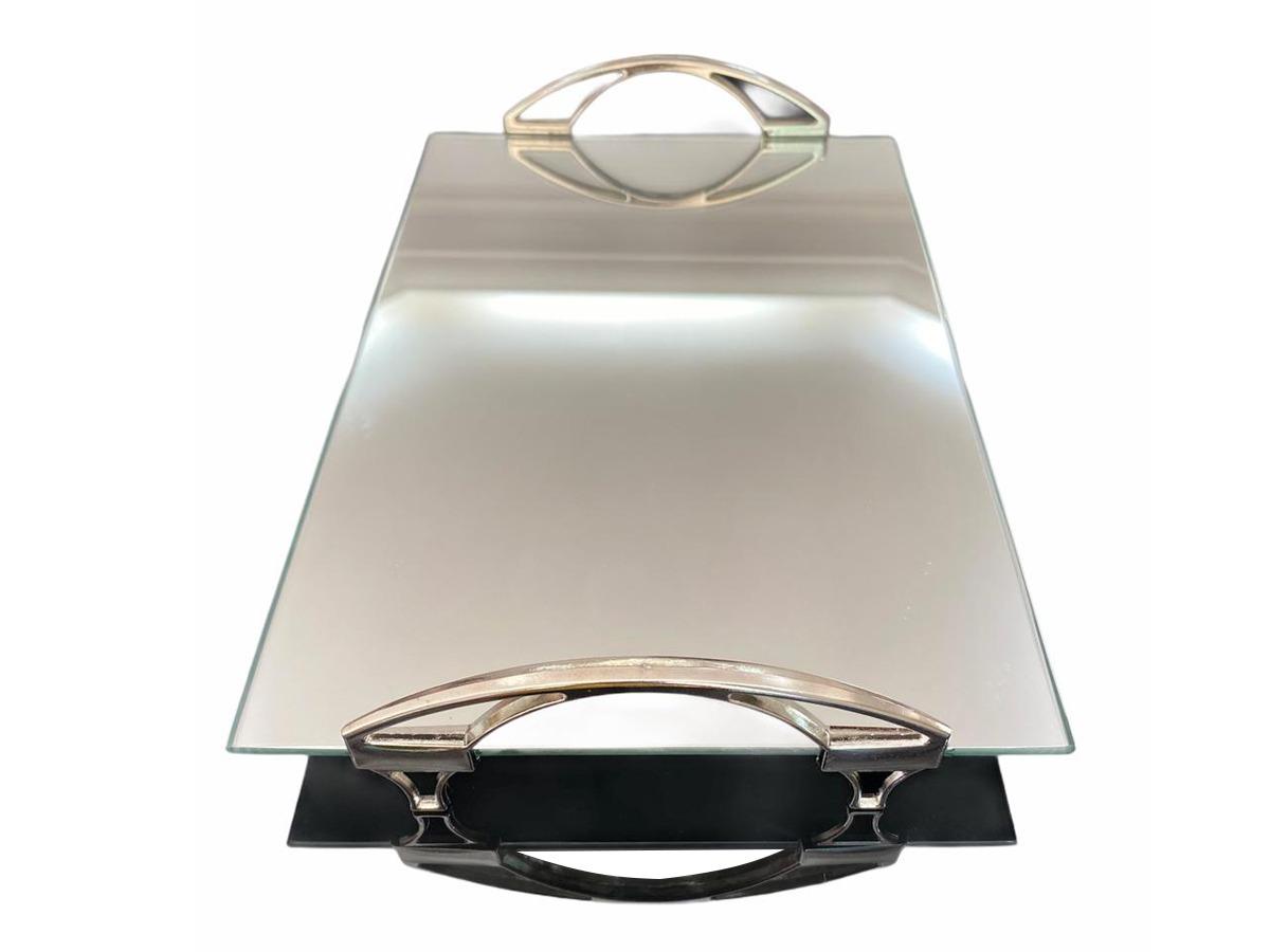 Bandeja Espelhada Com Alça Arco Prata 30x20