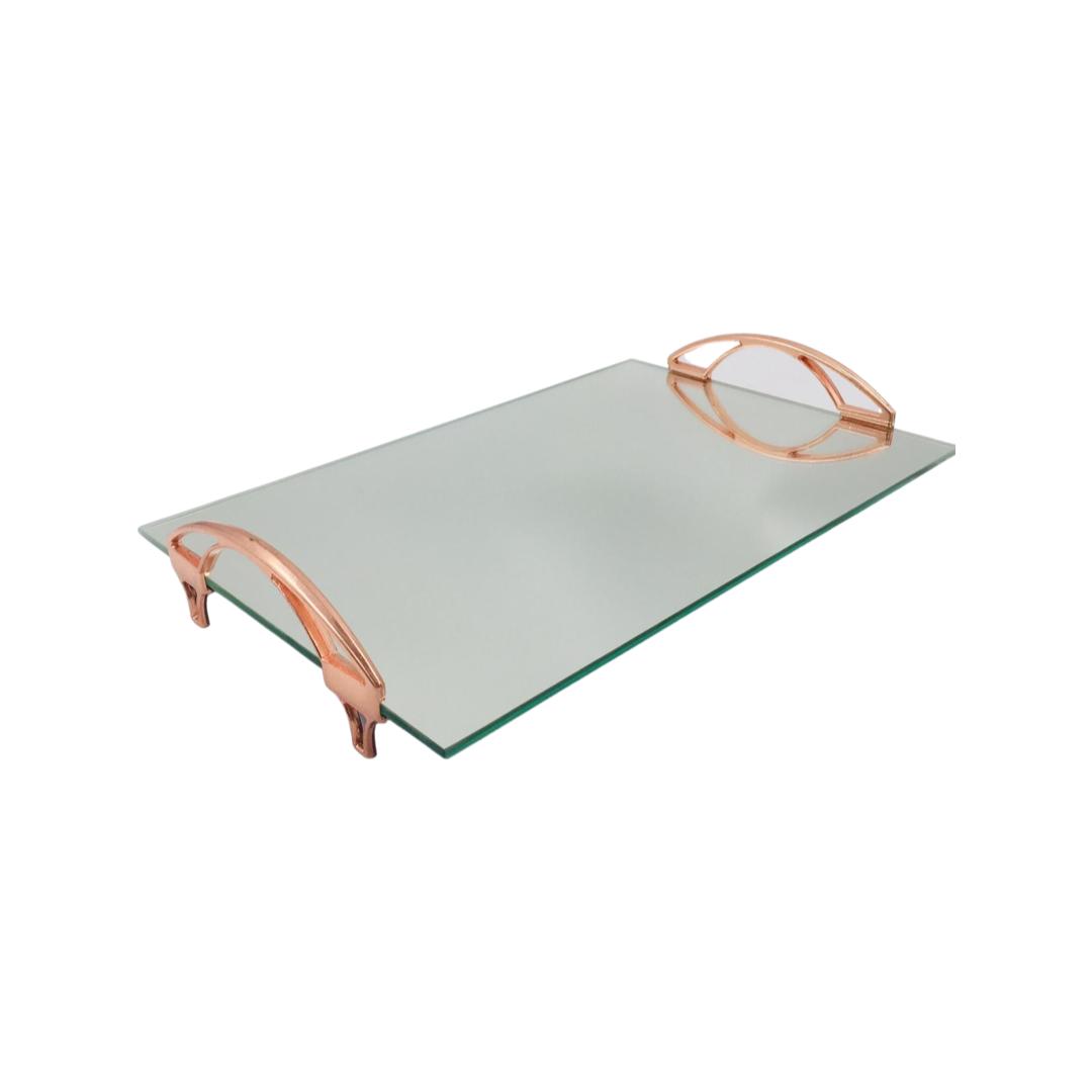 Bandeja Espelhada Com Alça  Arco Rose 30x20