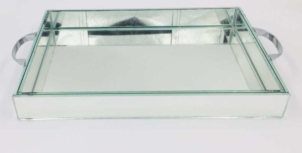 Bandeja Espelhada Com Alça Concha Prata 30X20