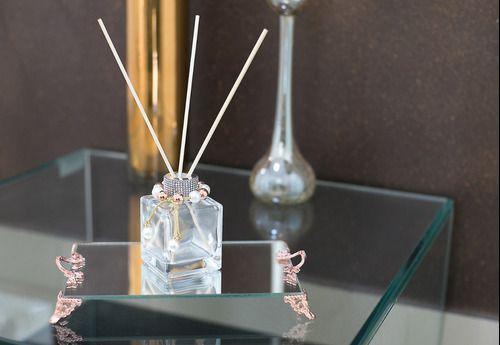 Bandeja Espelhada Com Alça Rose Lavabo Banheiro Sala Luxo 22x14