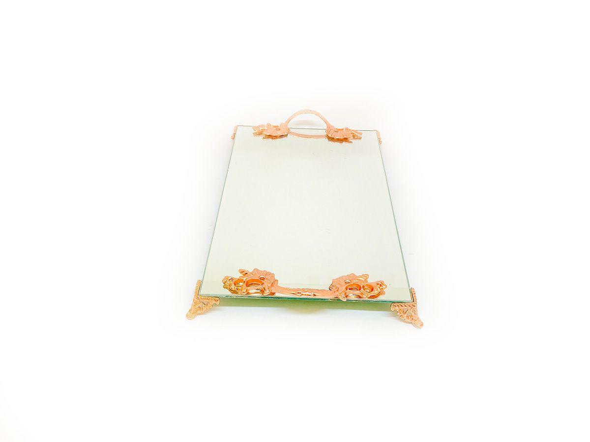 Bandeja Espelhada Com Alça Rose Lavabo Banheiro Sala Luxo 30x18