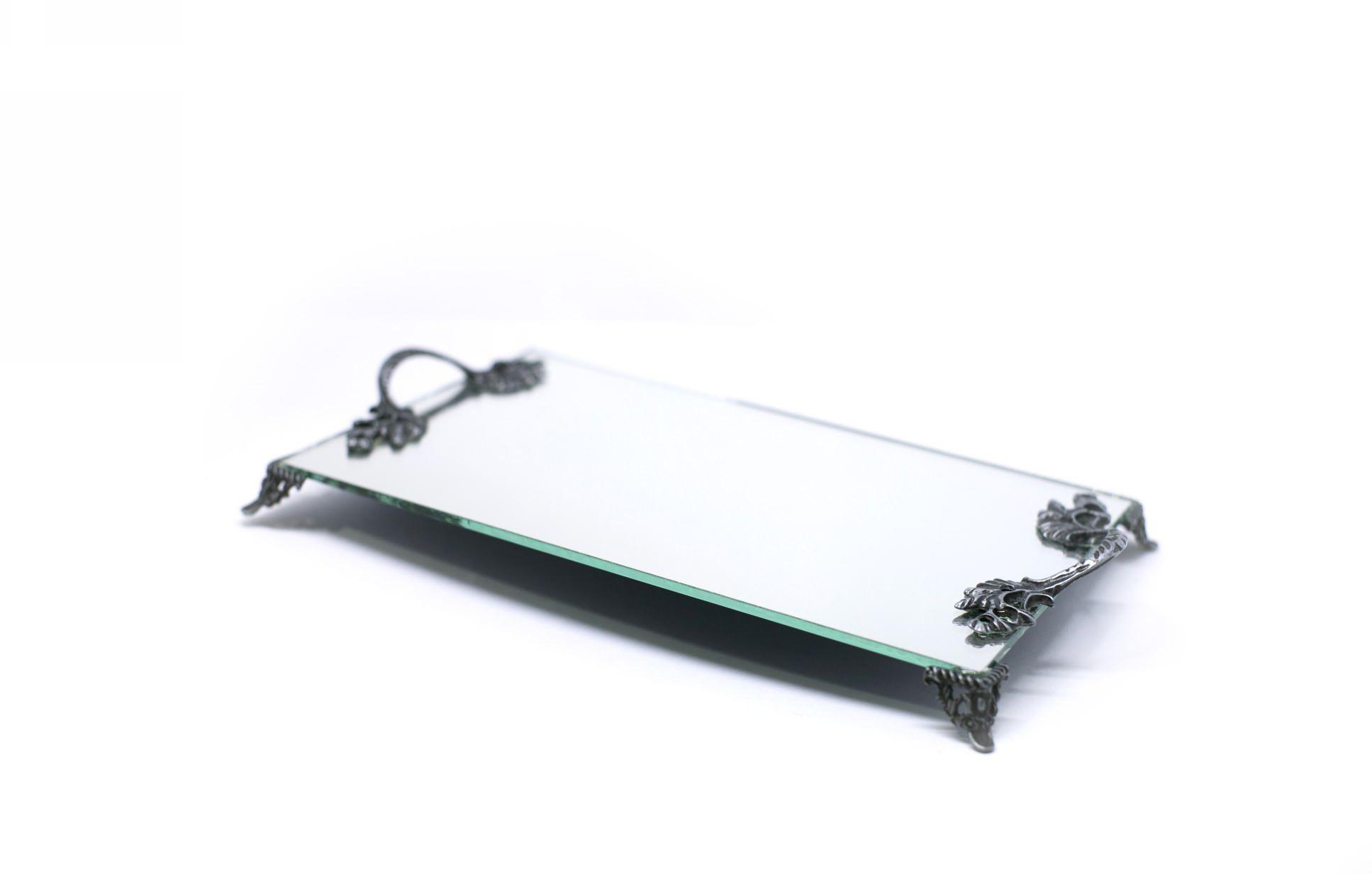 Bandeja Espelhada Com Alças Prata Velho Lavabo Banheiro 30x18
