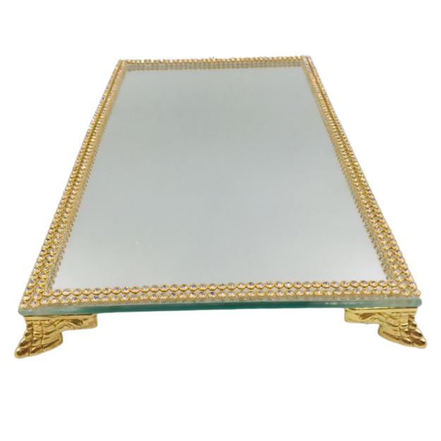 Bandeja Espelhada Com Strass Dourado 22x14