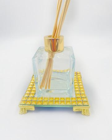 Bandeja Espelhada Com Strass Dourado Luxo Lavabo 10x10