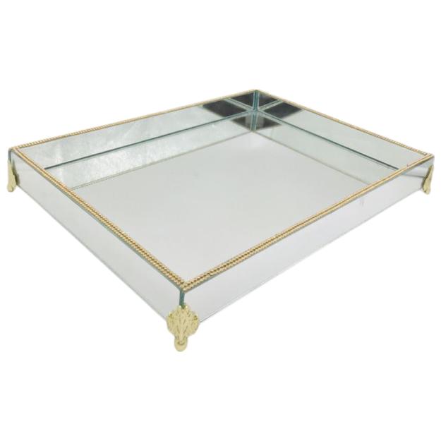 Bandeja Espelhada Com Strass E Pé Dourado 40x30