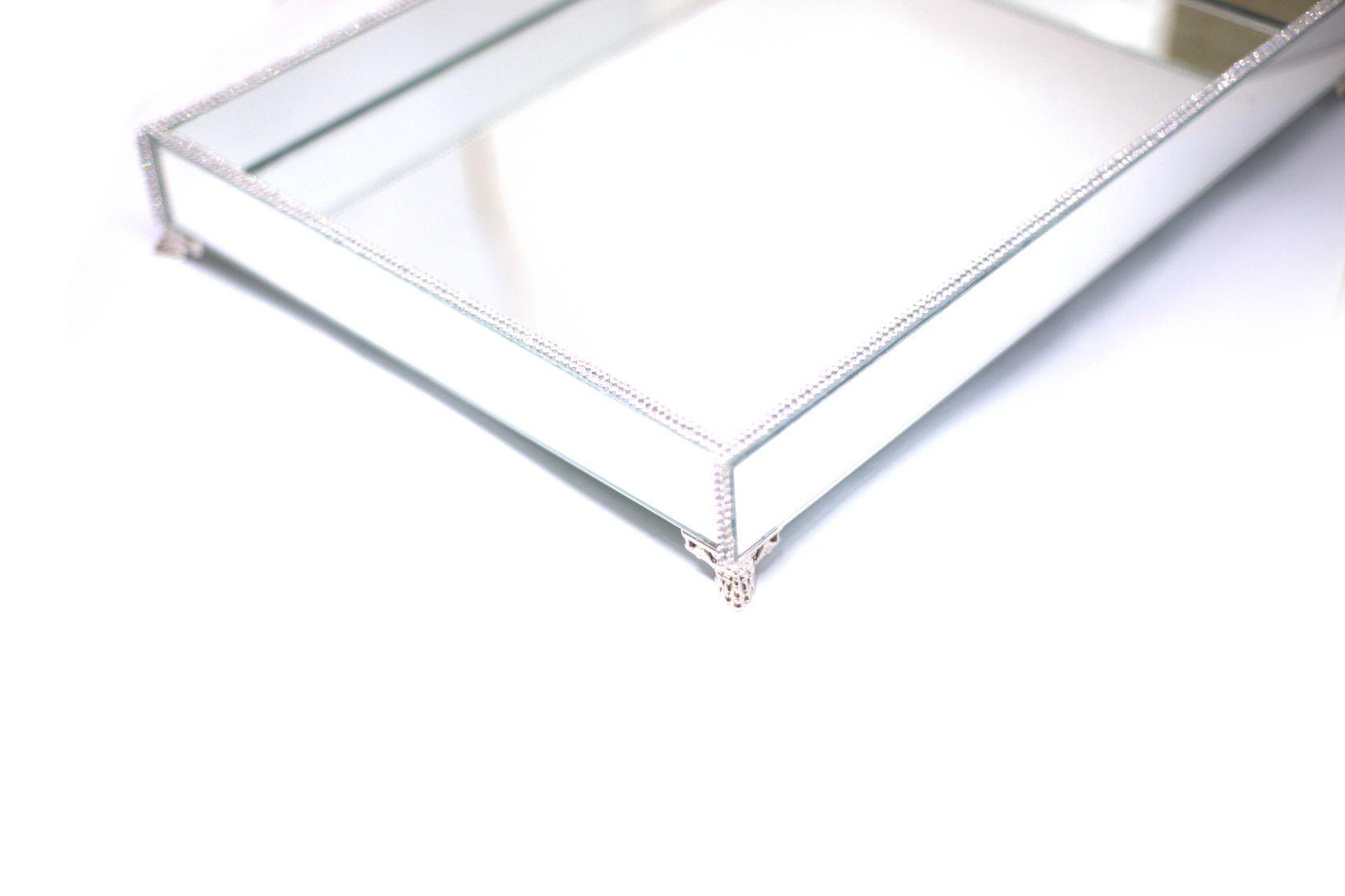 Bandeja Espelhada Com Strass E Pé Prata Sala Jantar 40x30