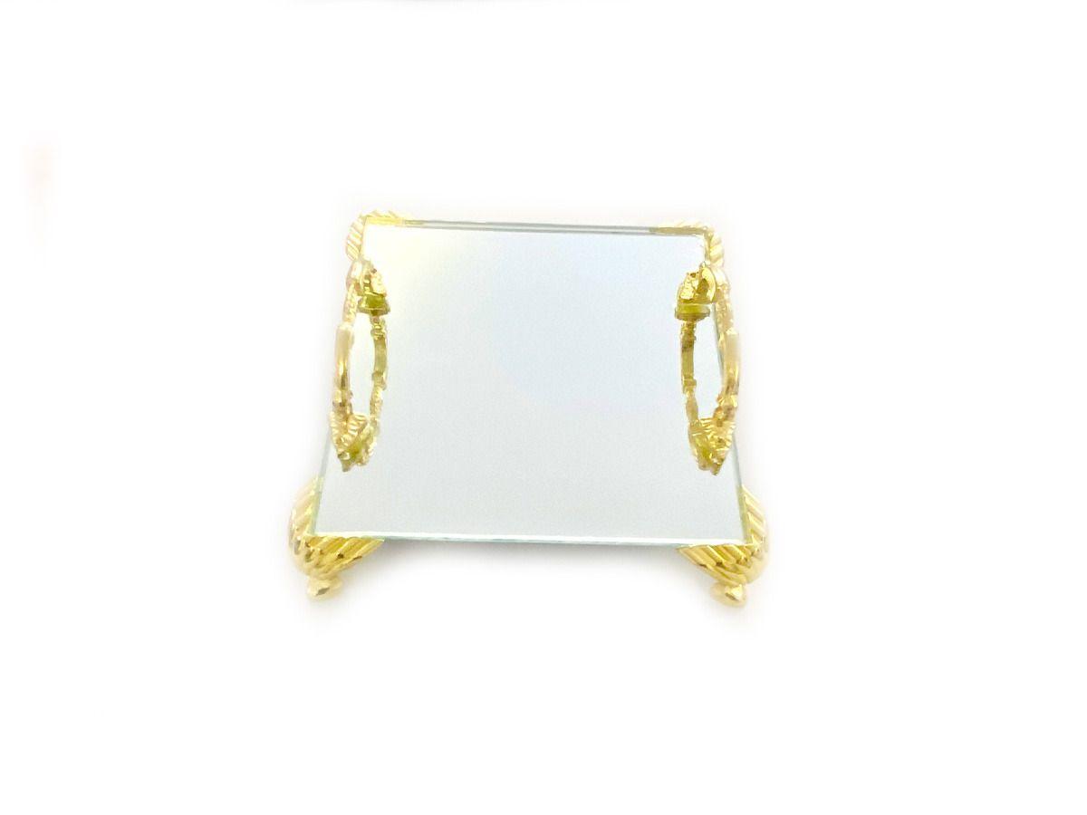 Bandeja Espelhada Itália Alça Dourada Luxo,Lavabo 10x10