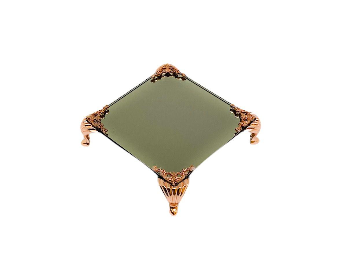 Bandeja Espelhada Itália Bronze Detalhe Rose,lavabo 10x10