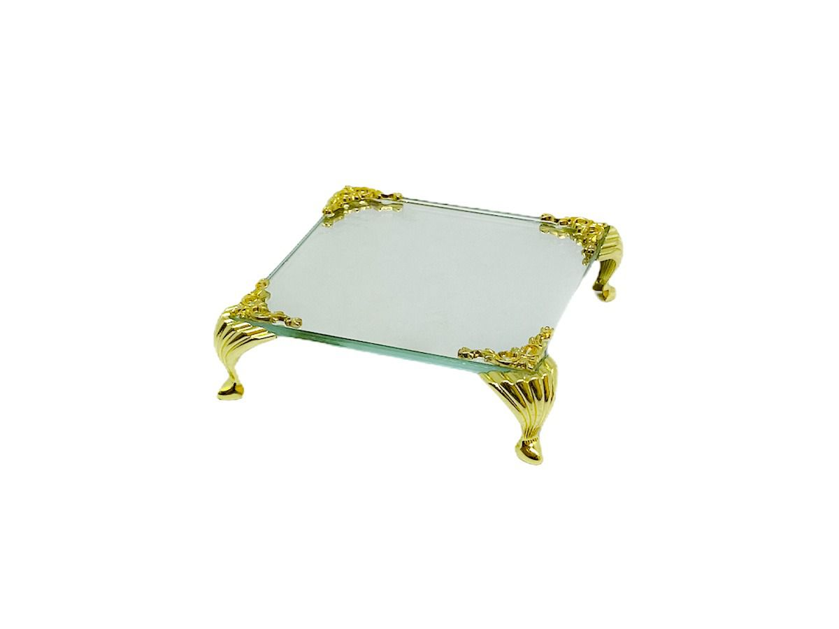 Bandeja Espelhada Itália Detalhe Dourada,lavabo 10x10