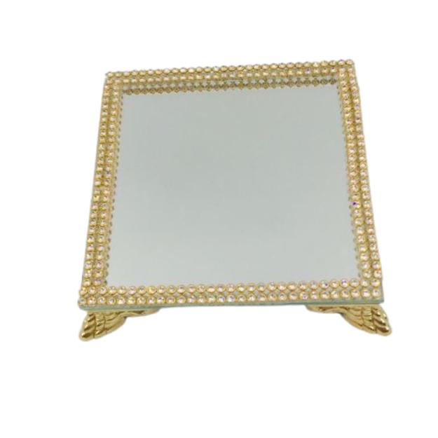 Bandeja Espelhada Itália Strass Dourado 10x10