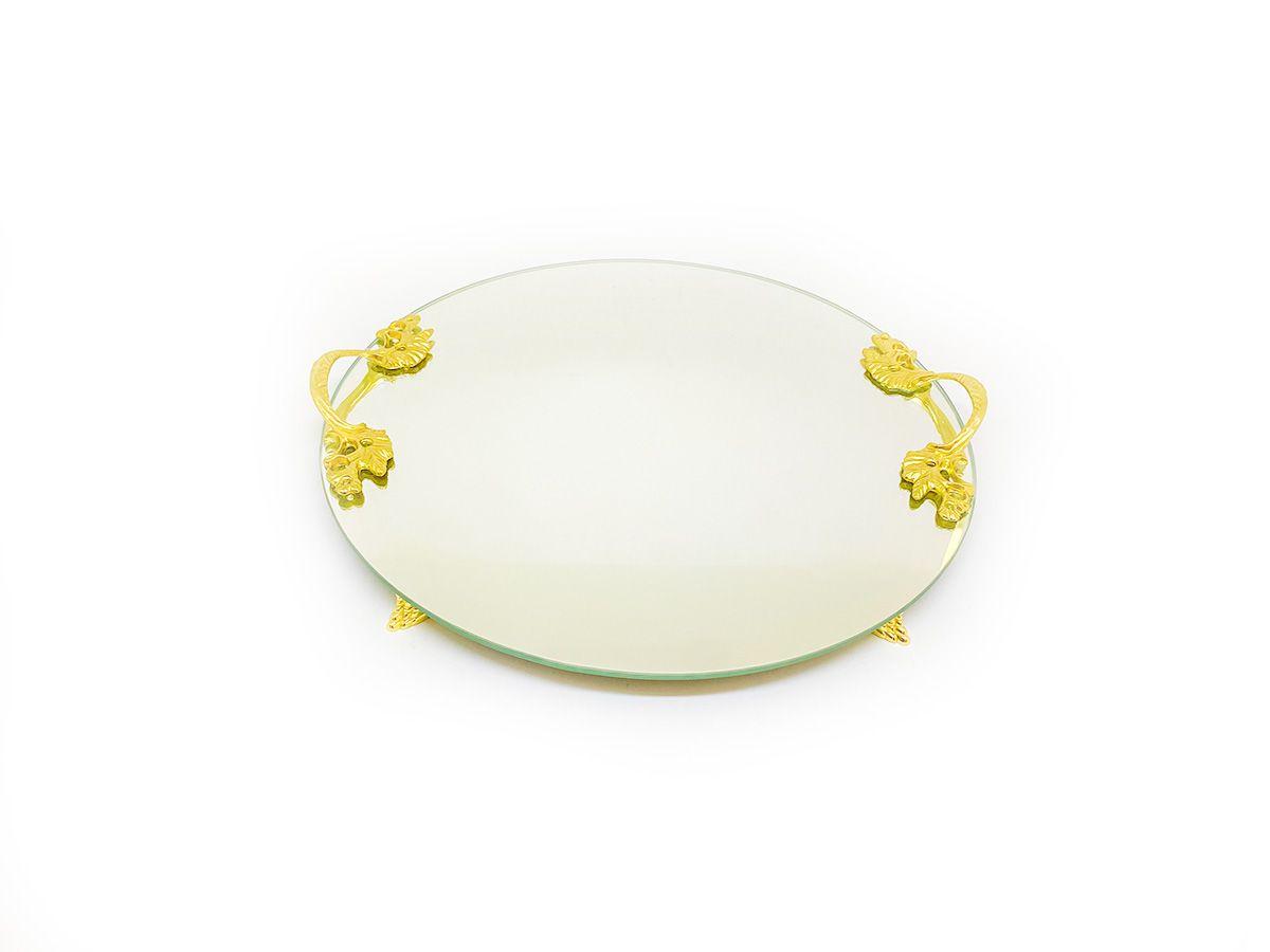 Bandeja Espelhada Redonda Com Alças e Pés Dourado 30x30