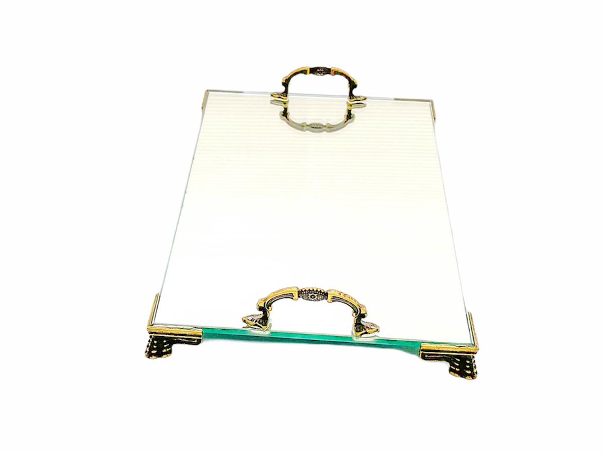 Bandeja Espelhada Veneza Com Alça Ouro Velho 22x14