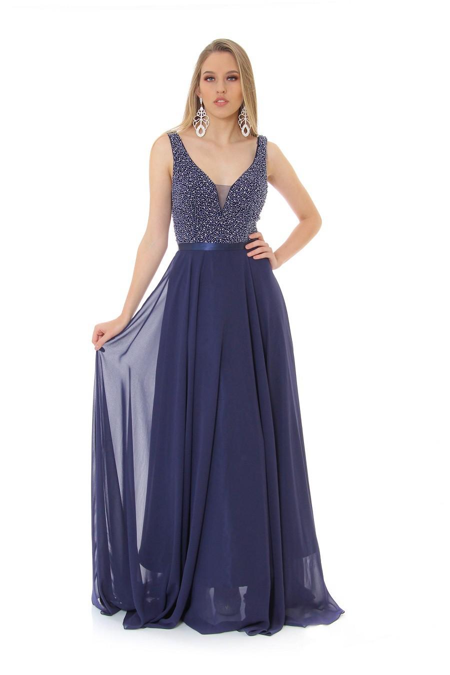 Vestido Azul  Marinho Rebeca