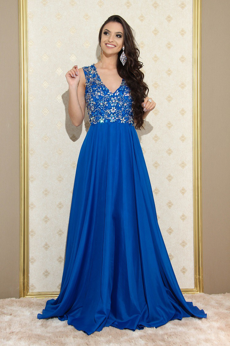 Vestido Azul Royal Luíza