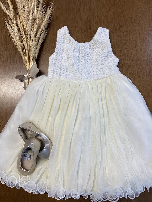 Vestido Beige Bibi          (Tamanho 12 meses)