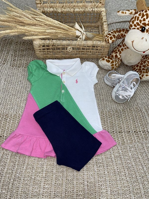 Vestido Bicolor Tininha    -      Ralph Lauren          (Tamanho 4 meses)