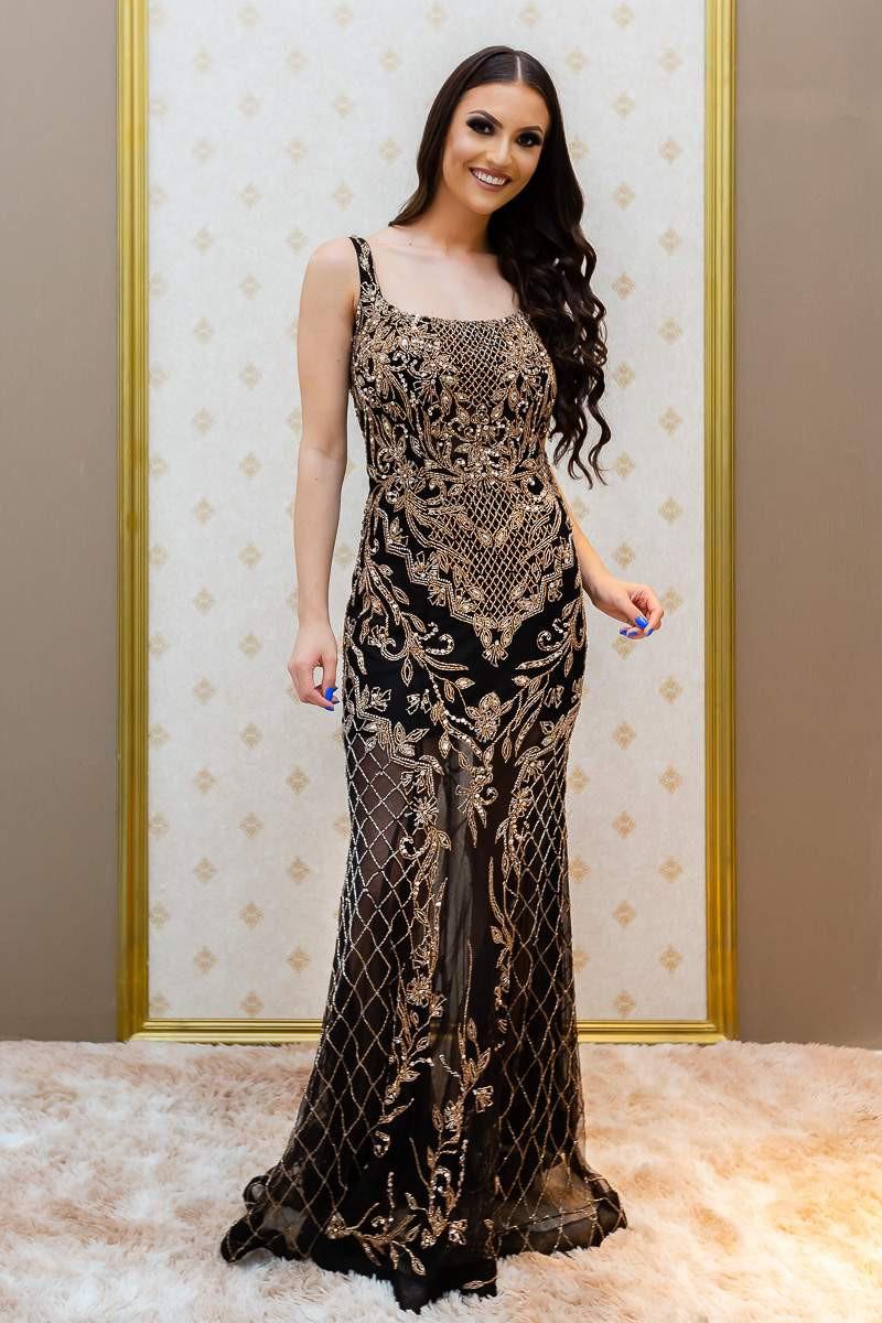 Vestido Preto/Dourado Juliana