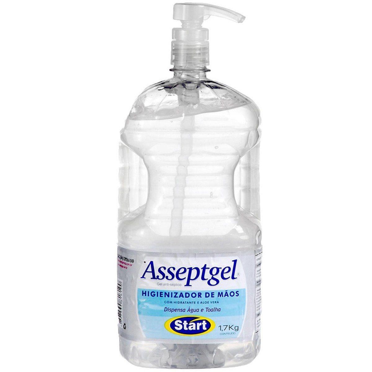 Álcool Gel 70° Higienizador 1,7kg - Start Asseptgel Gel Antisséptico Cristal    *Saúde*