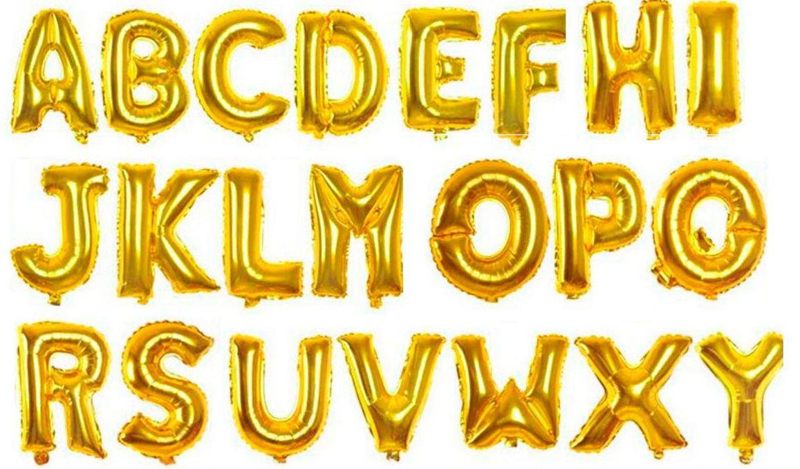 Balão Para Festa Letras Douradas Sortidas