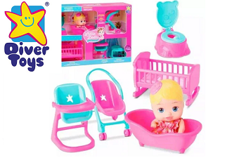 Boneca Little Dolls Kit Casinha Completo Diver Toys-906