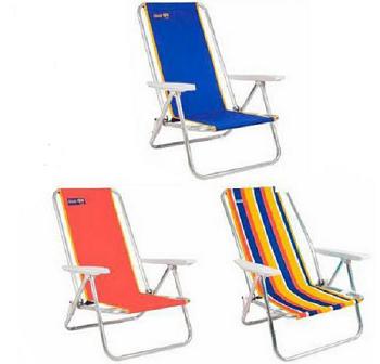 Cadeira para Praia Aluminio  Baixa Cores Sortidas 60X70X87CM