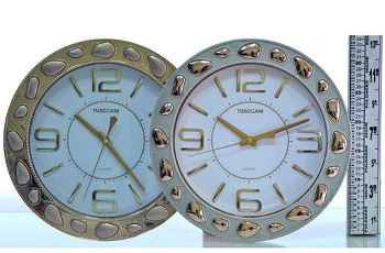 Relógio De Parede Branco E Dourado