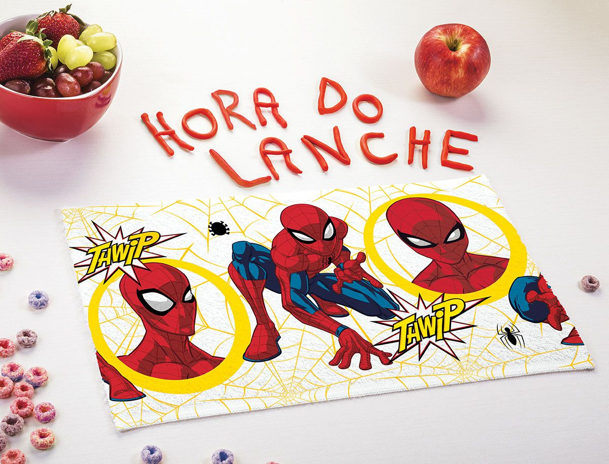 Toalha de Lancheira Infantil Estampada Spider Man 24 cm x 42 cm