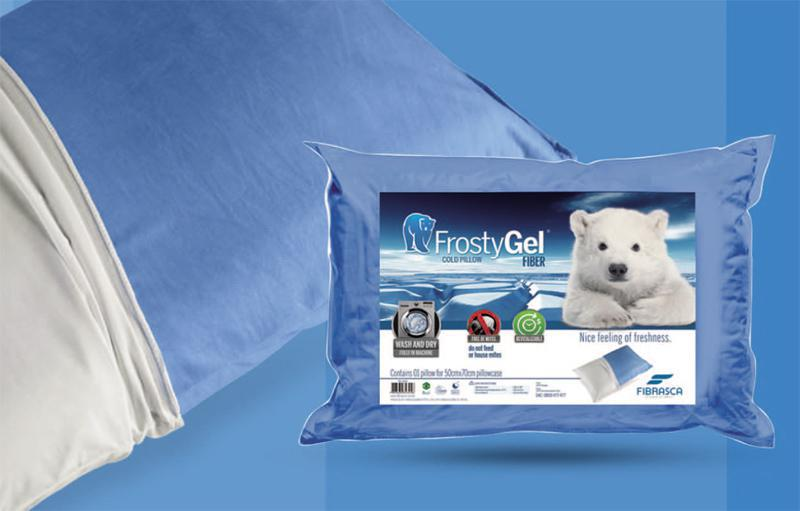 Travesseiro Frostygel Fibra Azul Lávavel 50x70cm Fibrasca -6313