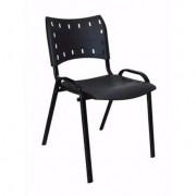 Cadeira ISO Empilhável Fixa Escritório Preta