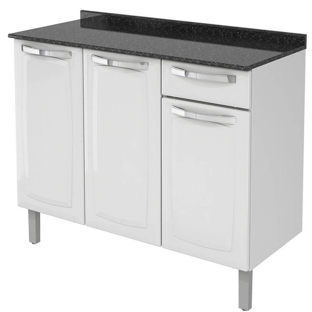 Balcão Cozinha Itatiaia Rose 3 Portas 1 Gaveta Branco IG3G1-105