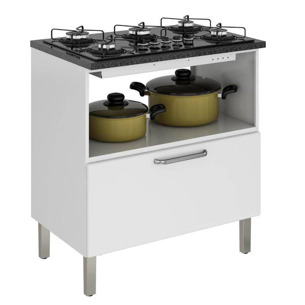 Balcão Cozinha Itatiaia Tarsila para Cooktop 5 bocas 1 Porta e 1 Gaveta Branco IGH1G1-80 5B