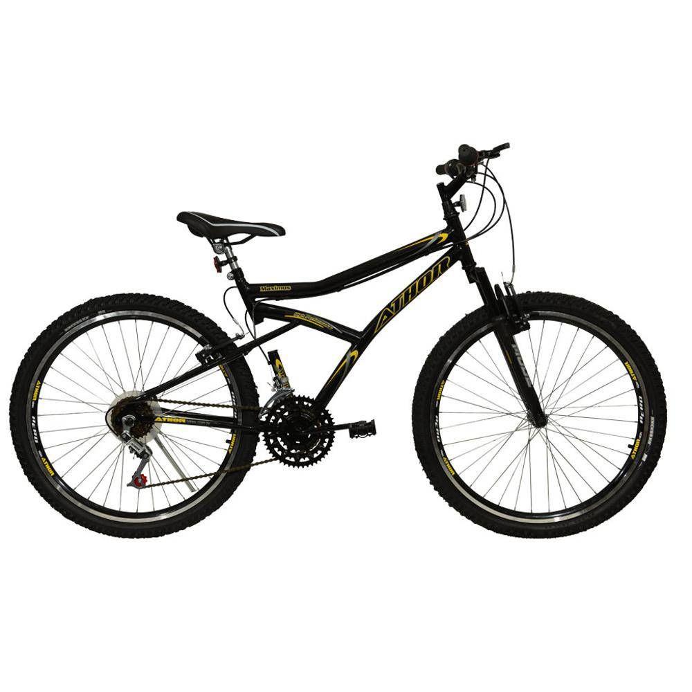 """Bicicleta Aro 26"""" 18m 45mm Maximus Preta Athor"""