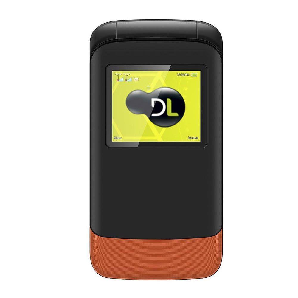 Celular Dl Yc230 Flip - Dual Chip, Tela De 1.8, Câmera, Rádio Fm E Bateria De Longa Duração Laranja