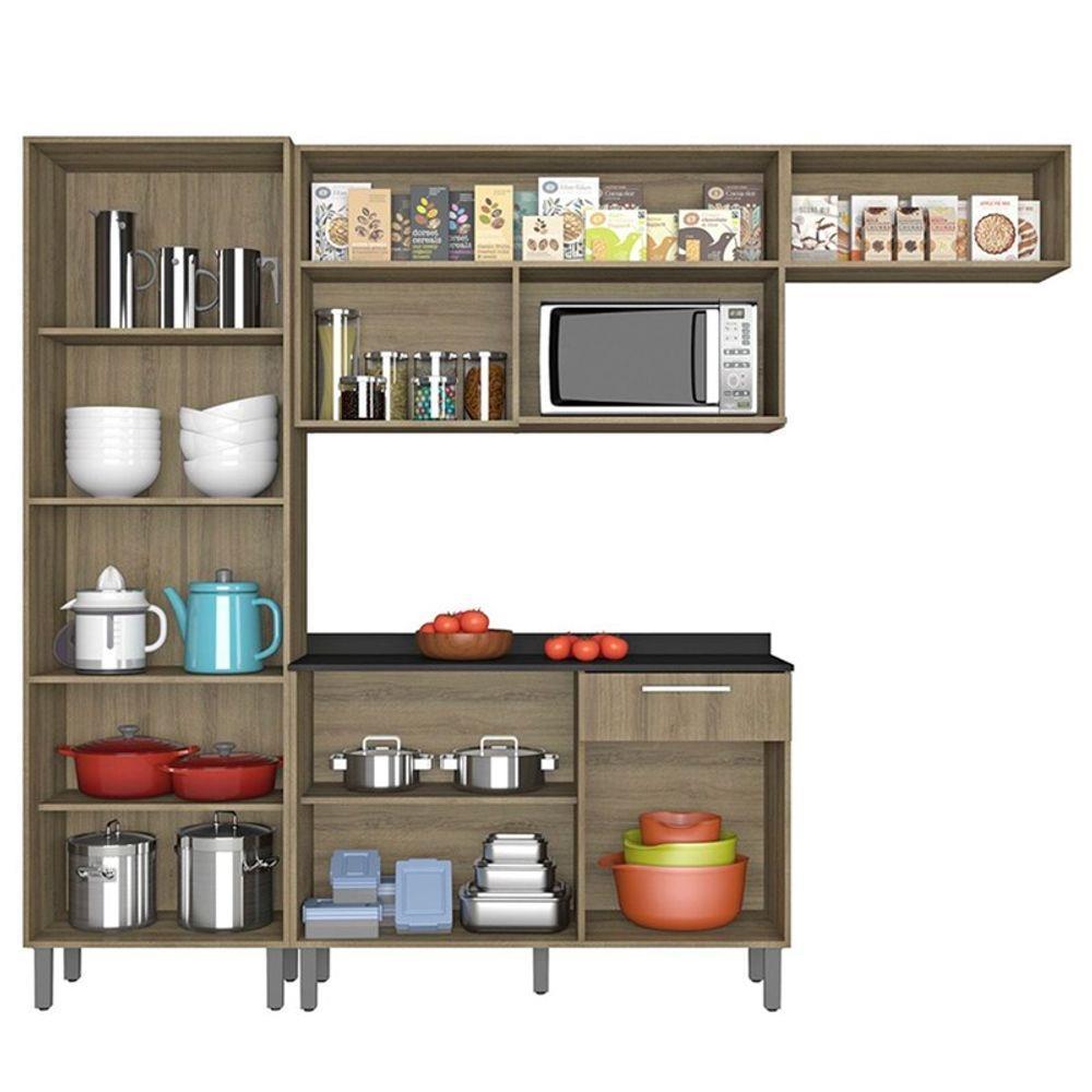 Cozinha Compacta 4 Peças com Balcão e Paneleiro Itatiaia Star Castanho - Marrom