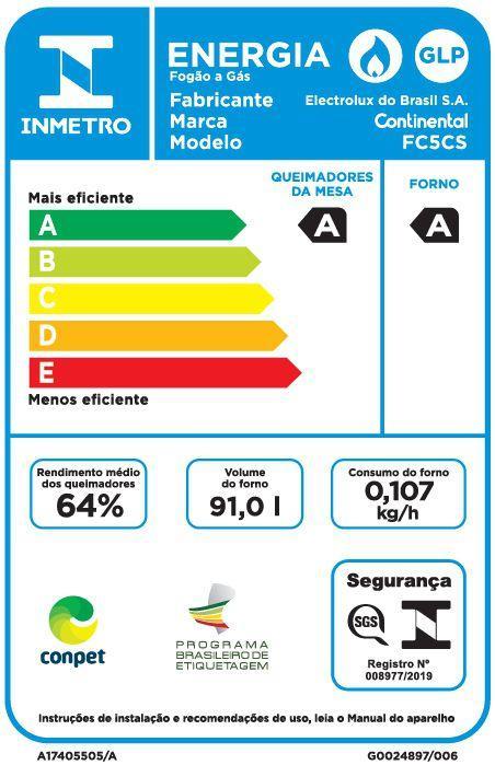Fogão 5 Bocas Continental Acendimento Automático - FC5CS
