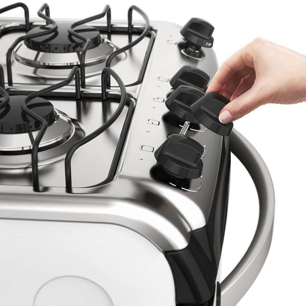 Fogão De Piso Electrolux Branco Com 4 Queimadores E Vidro Interno Removível Bivolt - 52Lbu