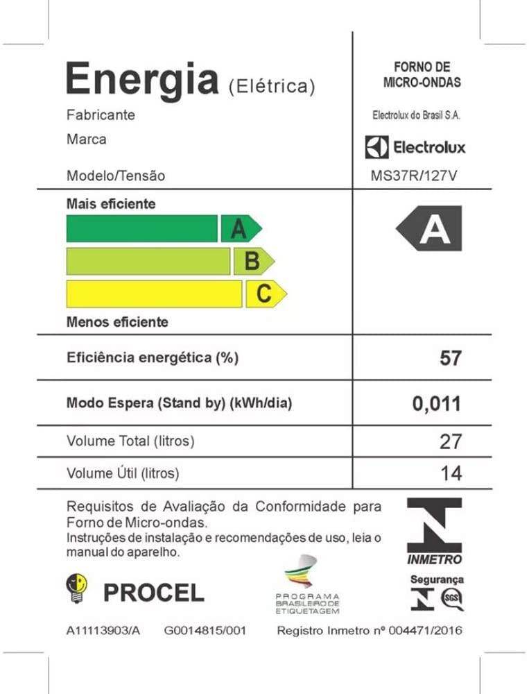 Micro-Ondas cor Prata 27L com 55 Receitas pré-programadas no Menu Online Electrolux (MS37R) 110v