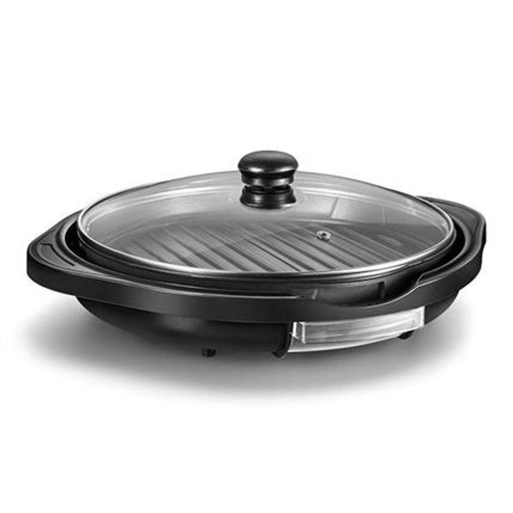 Panela Grill Gourmet 1200W Grelha Antiaderente Temperatura Regulável e 30cm de Diâmetro Preto Multilaser CE053